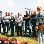 Sabrina als Dachdeckerin und Moderatorin eines Promotion-Events in Weimar.